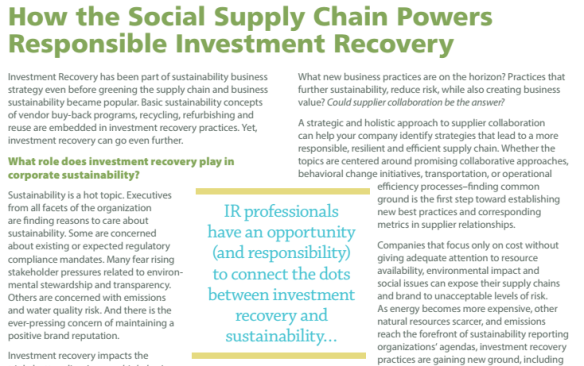 How the Social Supply Chain Powers Responsible Investment Recovery Asset Management