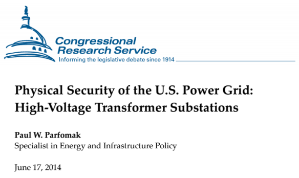 Physical Security o the US Power Grid Congressional Research Service Cover